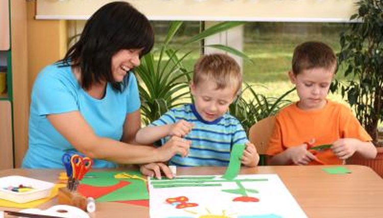 Children working on art project in preschool
