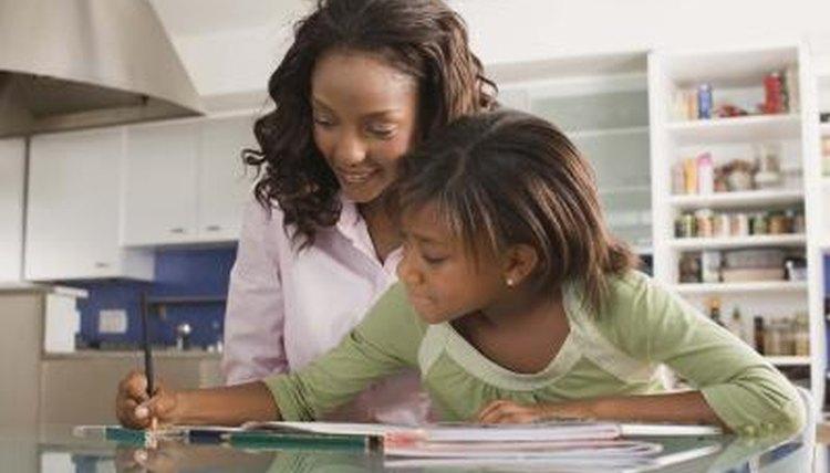 Parent homeschooling her child.