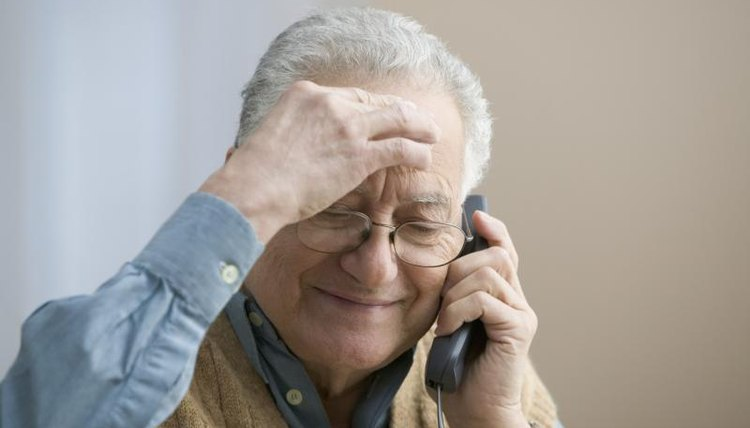 An older man, the phone