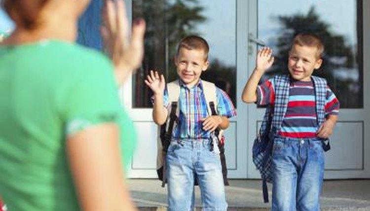 Children on their first day of school.