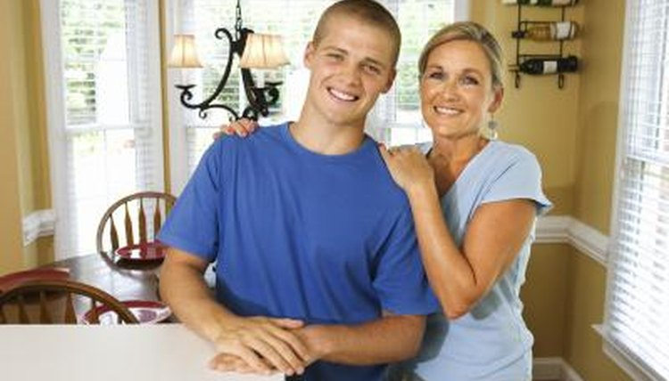 teenage son and mother