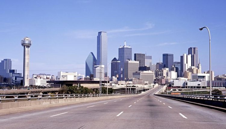Road leading into Dallas, Texas.