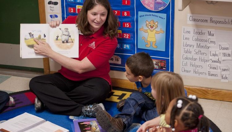 A teacher reading a story to preschoolers in a classroom.