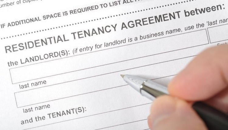 Signing a lease.
