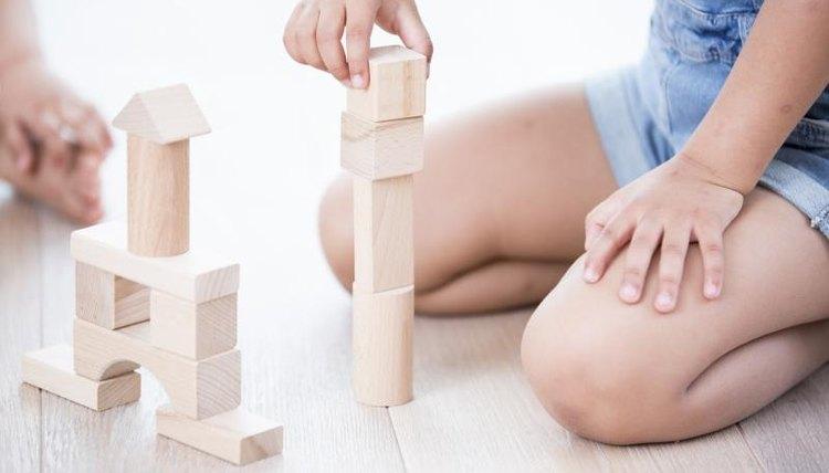 Preschooler playing blocks
