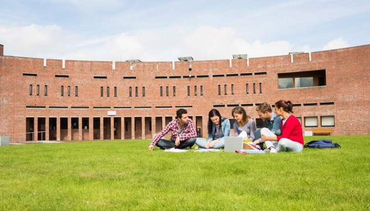 Students sitting on green grass in front of a school.