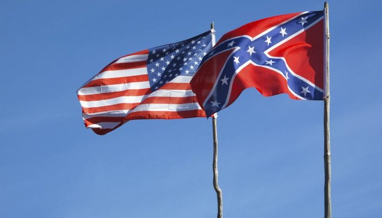 The Union and Confederate flags.