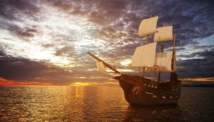 A classic tall ship at sea.