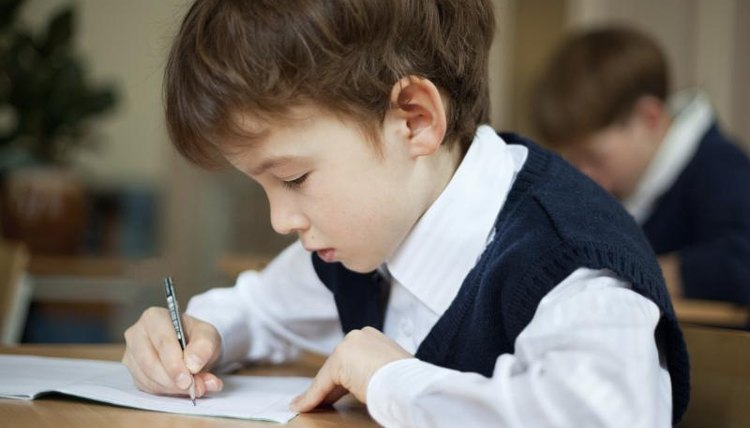 A young boy in class