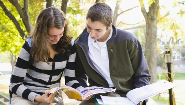 Students studying on campus.