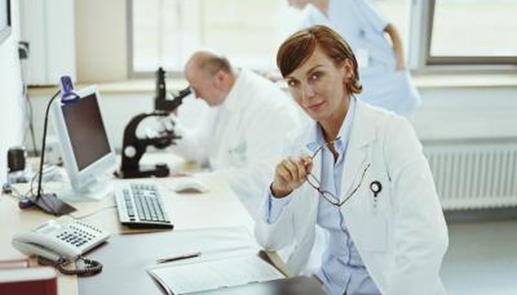 Woman working in clinical research lab