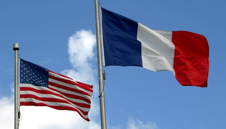 The American and French flags.