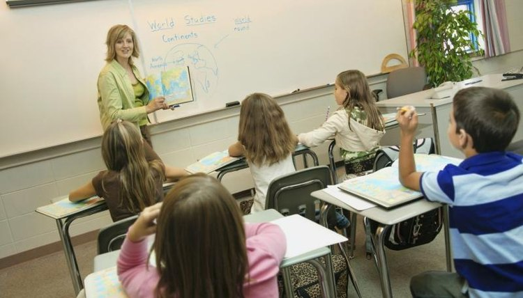 A teacher addresses students in a classroom