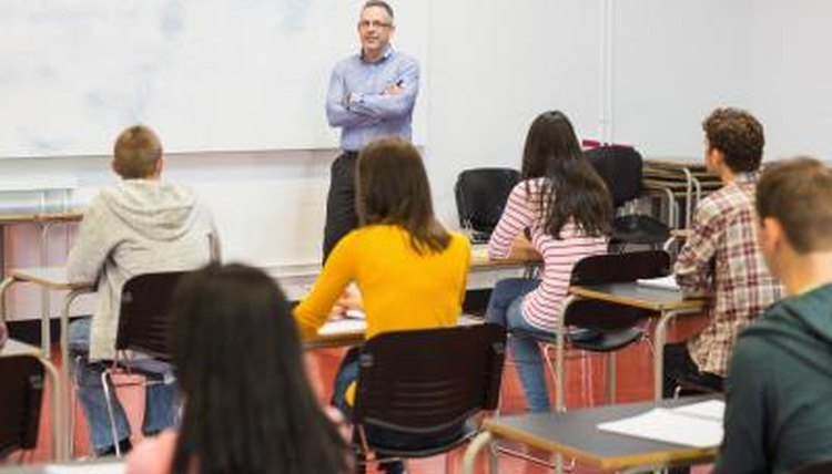 Professor leading college course on meteorology.