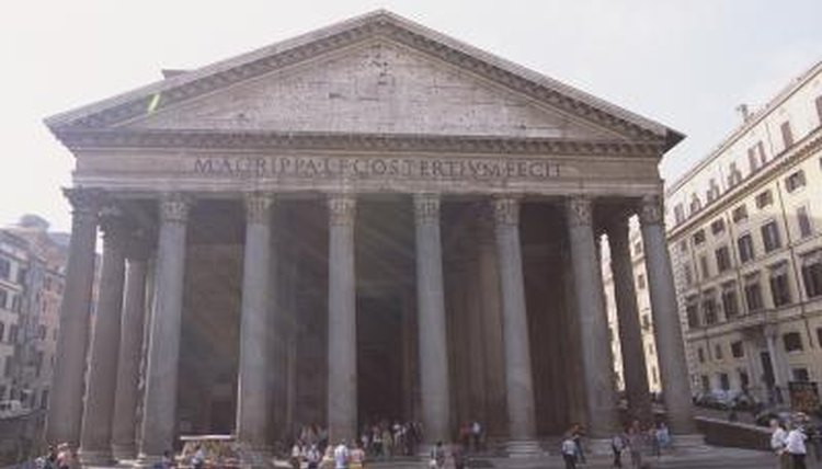 The exterior of the Pantheon in Rome, Italy.