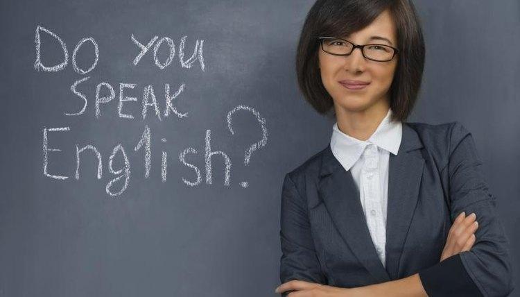 Young woman teaching an English class.