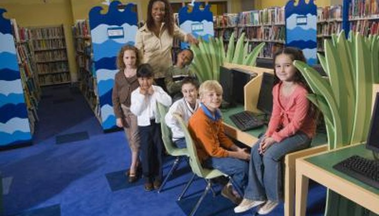 Young students in elementary school library
