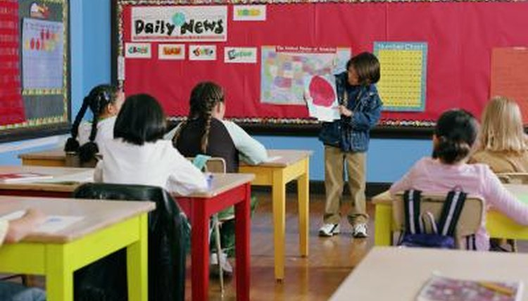 Young student presenting a research project in a classroom.