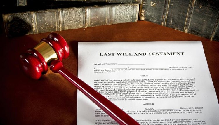 Last Will, Testament document, books, a judge's gavel