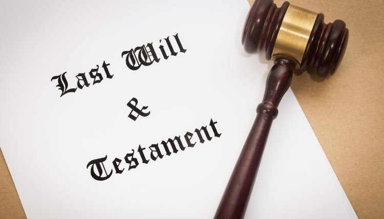 A last will and testament document, a judges gavel