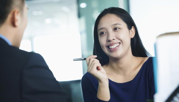 Smiling teacher during interview