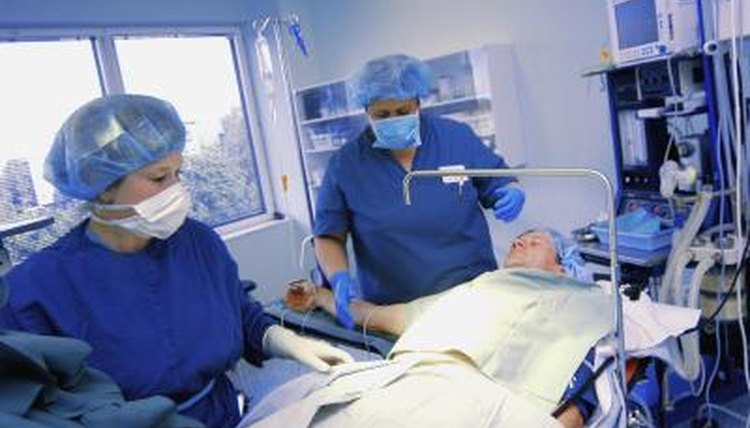 A nurse and a surgeon prepping to operate on a patient