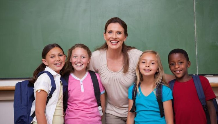 Fourth-grade students with teacher.