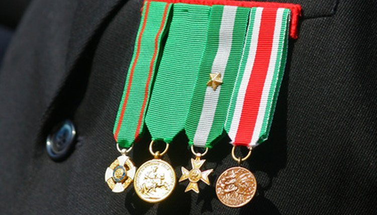 Military medals as displayed on formal wear.