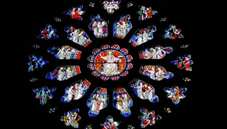 Rose windows often depict Biblical stories in their glasswork.