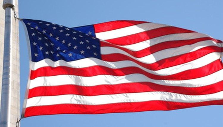 A folded American flag is always triangular, stars against blue.