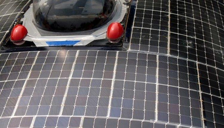Solar power panels on a car.