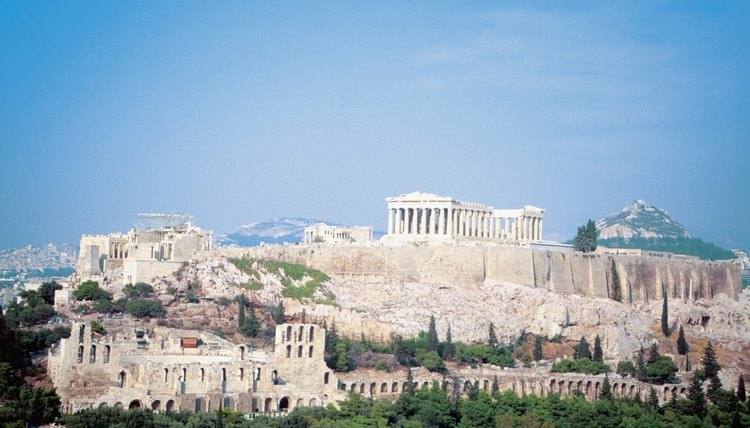 High angle view of the Temple of Athena, Athens, Greece
