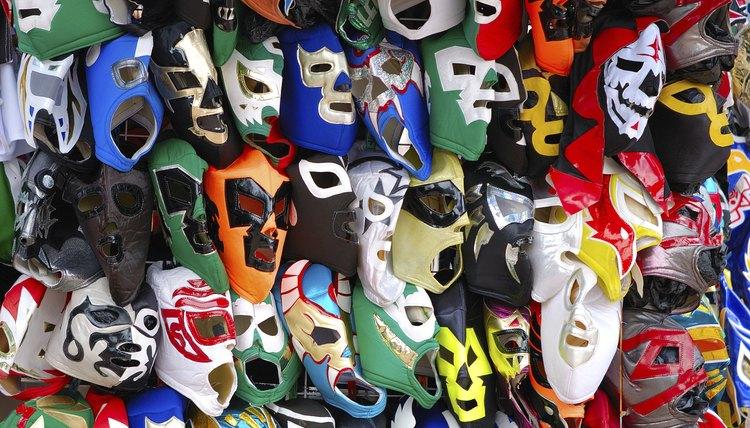A vendor sells Mexican wrestling masks.