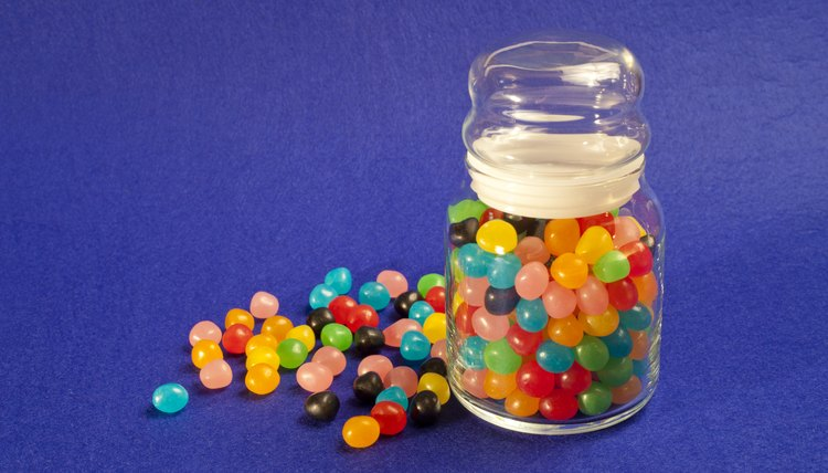 Jelly beans in a glass jar.