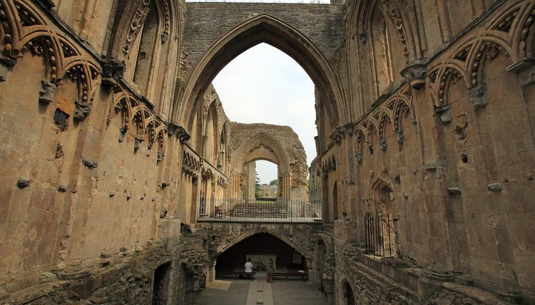 Glastonbury Abbey, in ruins today, was one of the great medieval monasteries.