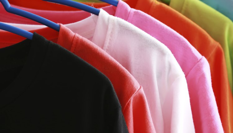 Close-up of t-shirt rack.