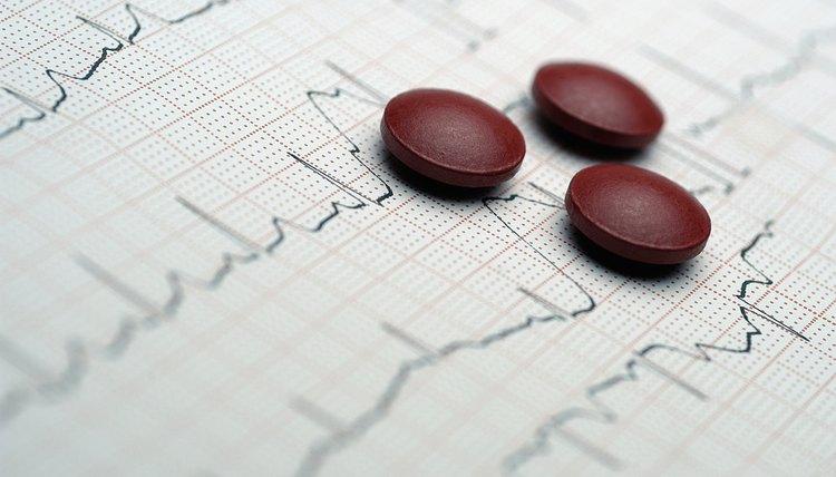 Pills on ECG, close-up