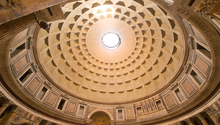 A view of the Pantheon's ceiling in Rome, Italy.