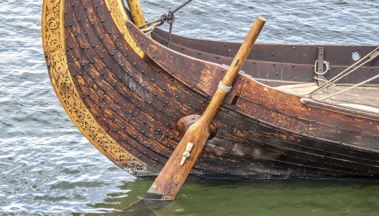 The rudder on a viking boat.