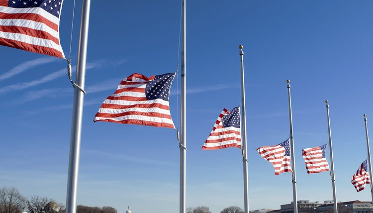 USA flags fly at half mast in Washington D.C.