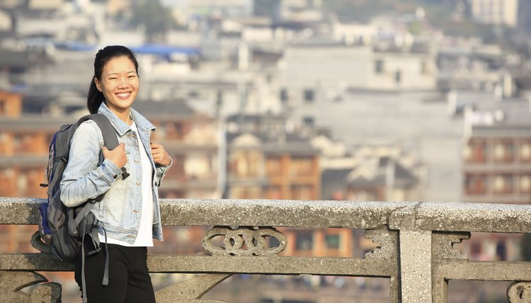 woman tourist at fenghuang ancient town,china