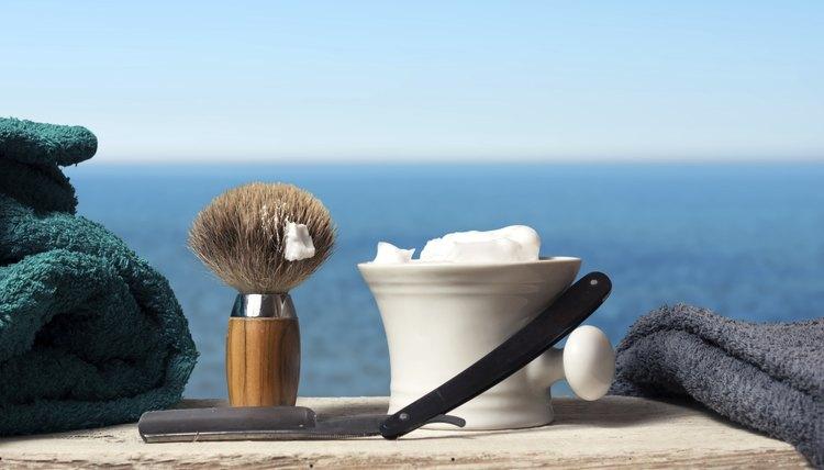 Old fashion shaving kit with brush, razor and cream.