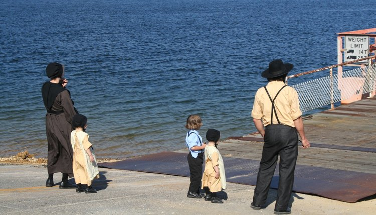 An Amish family by the pier.