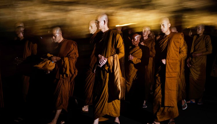 Buddhist monks preserve the words and beliefs of Gautama Buddha.