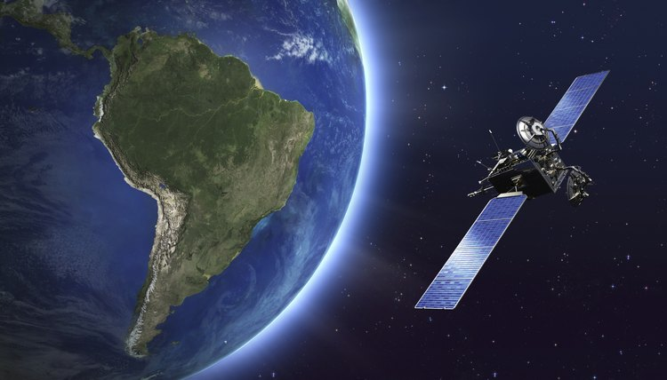 South America. Telecommunication satellite orbiting Earth.