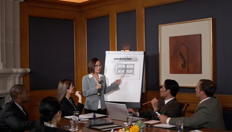Woman giving presentation
