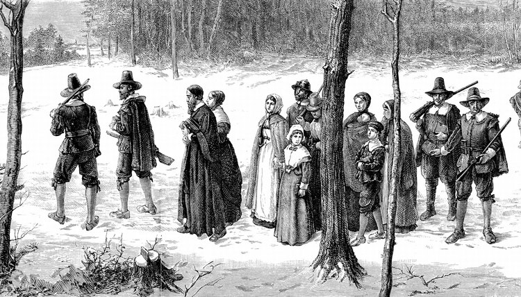 Pilgrims walking to church in winter.