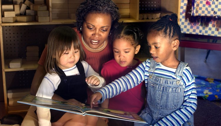 Children and teacher reading in preschool classroom