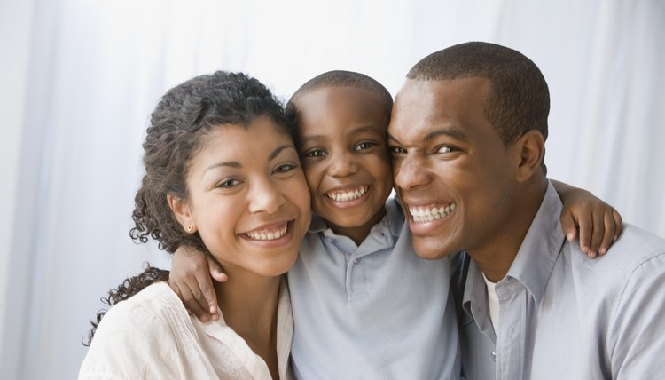 Portrait of smiling young family