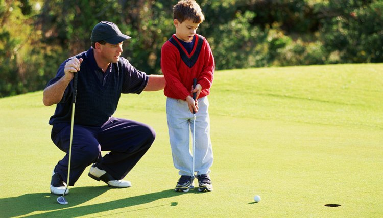 Boys or girls who play golf should wear the correct shoes and comfortable fitting clothes.